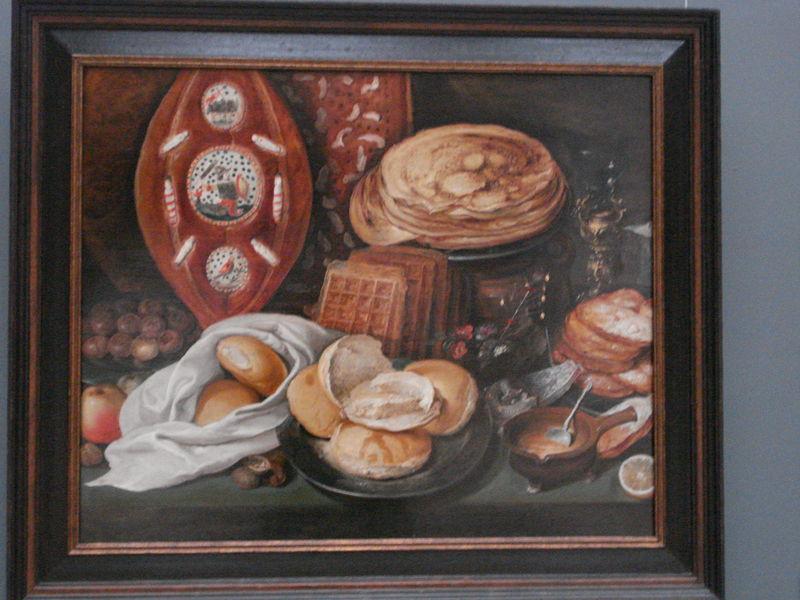 hans francken - nature morte aux crêpes et pain de noel