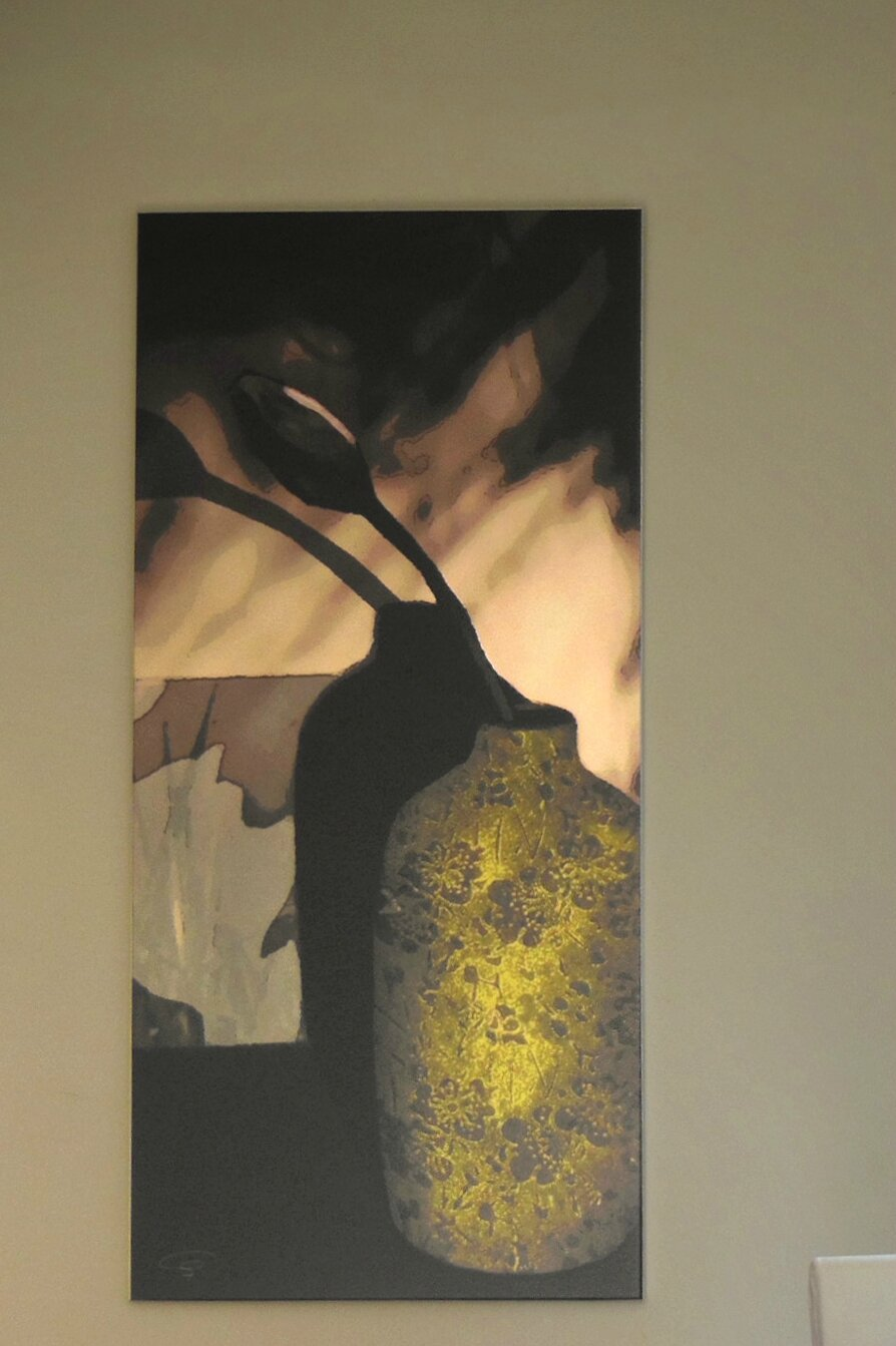 vase vert, digigraphie sur toile canvas