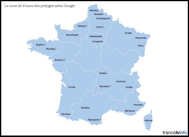 la carte de france des prejuges selon google