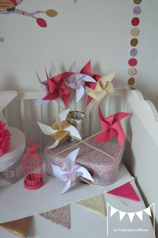 moulins à vent liberty éloise rose fuchsia doré beige - décoration chambre enfant bébé fille liberty éloise rose fuchsia doré beige mariage baptême anniversaire