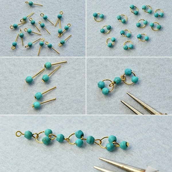 PandaHall Tutorial on How to Make Vintage Style Turquoise Bead Chandelier Earrings 3