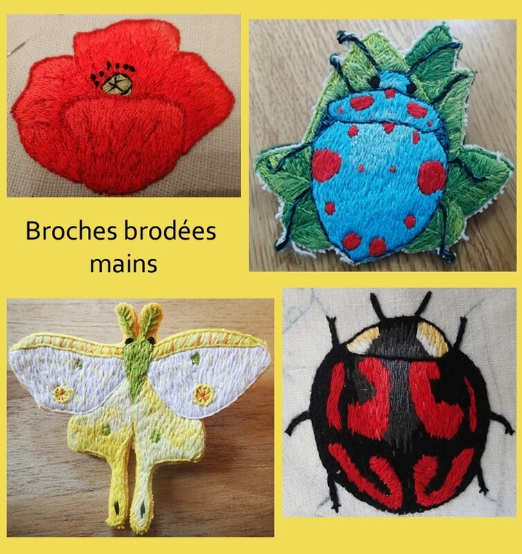 broche brodées mains