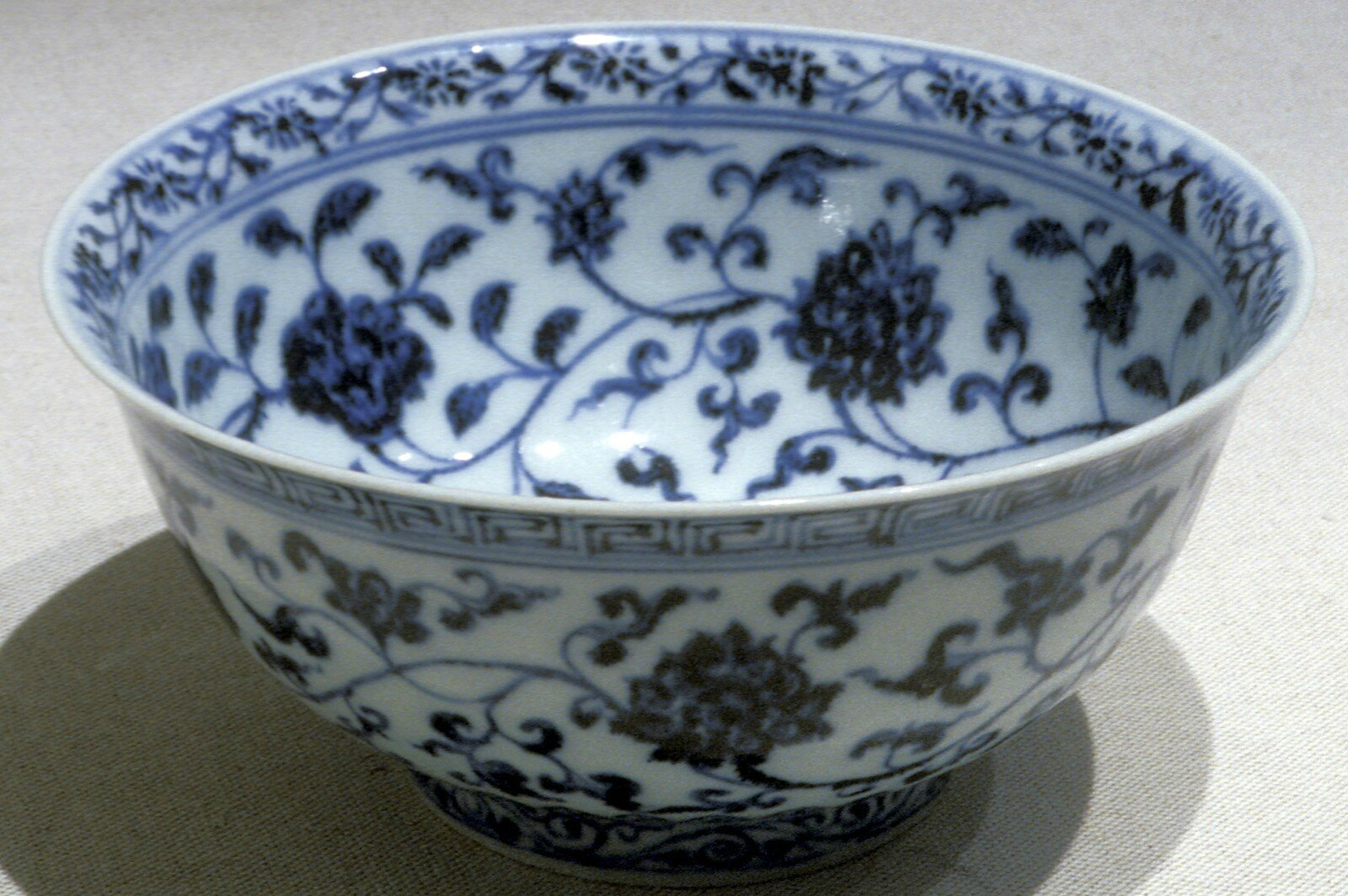 Bowl with lotus and floral designs, Ming dynasty, early 1400s, Yongle period, porcelain with underglaze blue, 3 1/8 x 6 3/4 (diam.) in.Gift of Mr. and Mrs. Eli Lilly. 60.101. Indianapolis Museum of Art © 2014 IMA