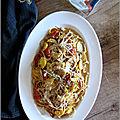 Spaghetti aux courgettes jaunes, tomates cerises & gorgonzola-mascarpone