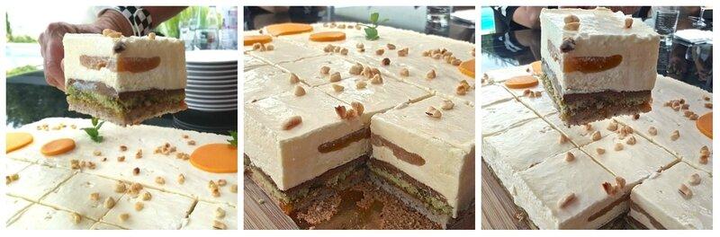 entremets abricot- pistache - chocolat blanc-croustillant praliné