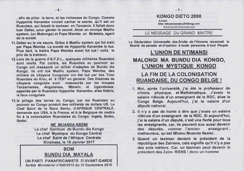 LA FIN DE LA COLONISATION RUANDAISE DU CONGO BELGE a