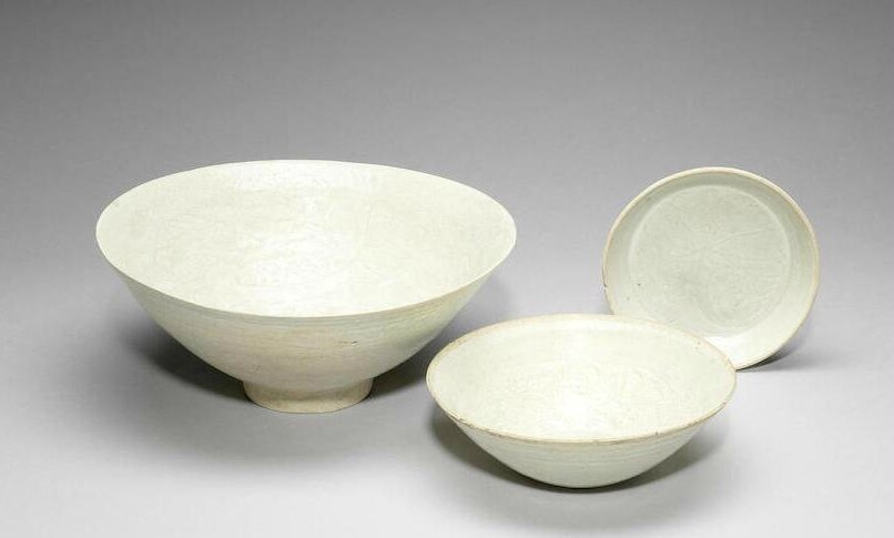 Three qingbai bowls, Song Dynasty and later