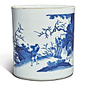 A large blue and white 'peach blossom spring' brushpot, transitional period, circa 1640