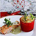 Pavé de saumon, sauce au pesto de basilic et risotto de pâtes.......
