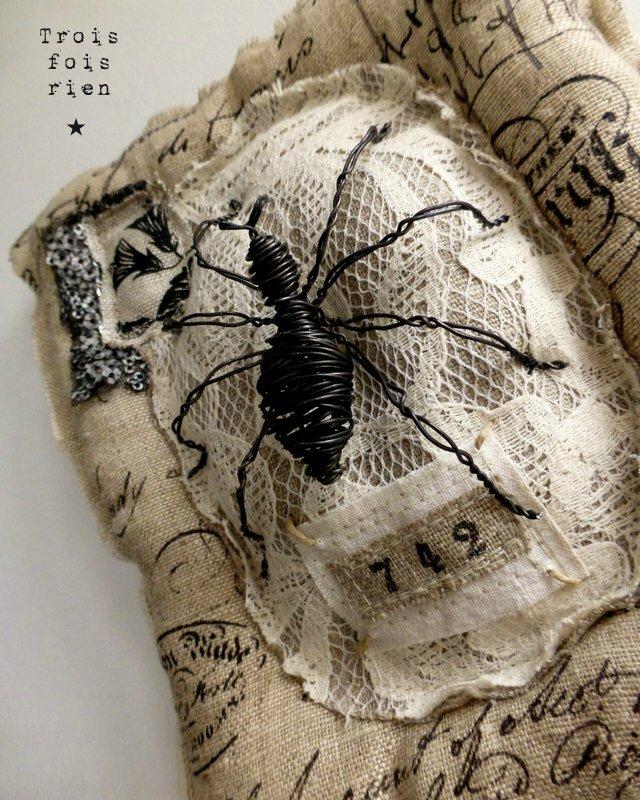 Spider, wire spider, araignée fil de fer, mixmédia spider, dentelière (2)
