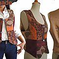 Gilet sans manches costume tailleur femme marron Bordeaux velours dentelle mod 01B copier
