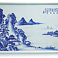 An inscribed blue and white 'landscape' tray, qing dynasty