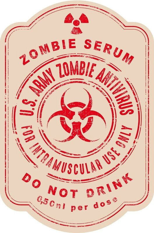 label halloween virus zombie antivirus serum