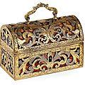 Coffret en cuivre et bronze argenté et doré. travail français ou italien de la fin du xviie siècle
