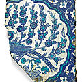 An iznik cobalt blue and white pottery tile fragment with a peacock, turkey, circa 1540-50