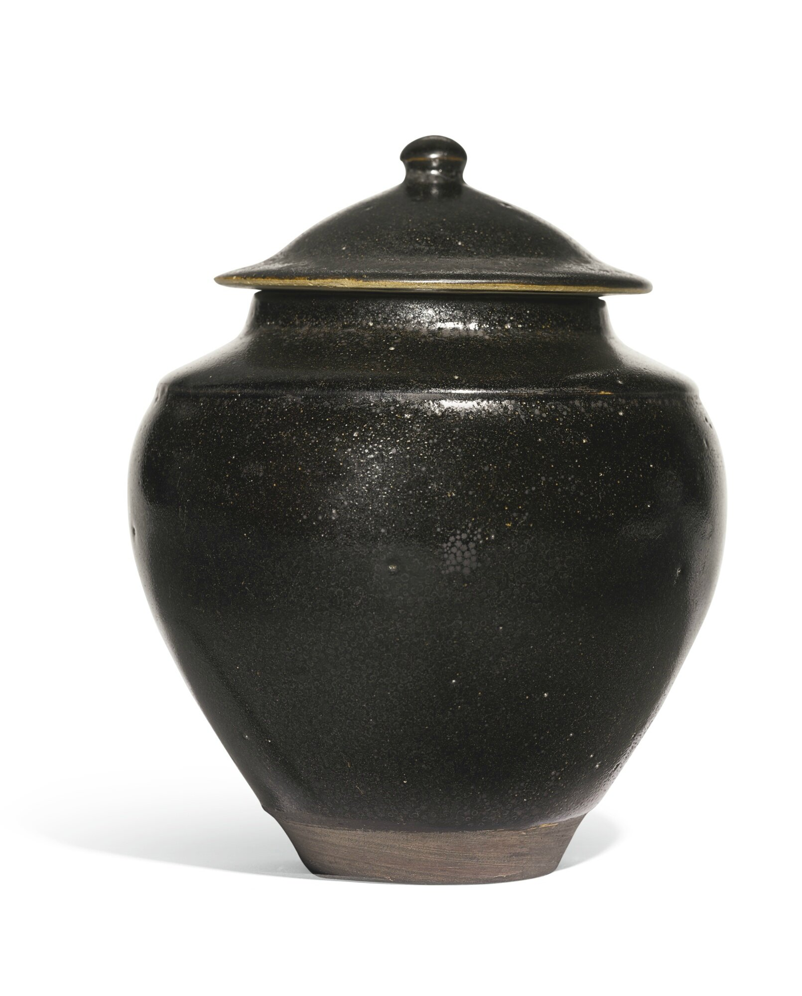 A black-glazed 'oil-spot' jar and cover, Song dynasty