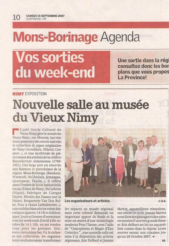 Avril 2007 – Cercle culturel du Vieux Nimy – Musée situé Rue Mouzin 31