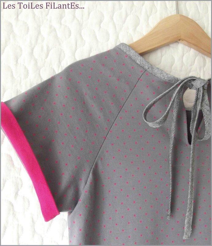Robe Calliope gris et framboise13