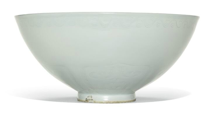 A large white-glazed anhua 'crane' bowl, Yuan dynasty