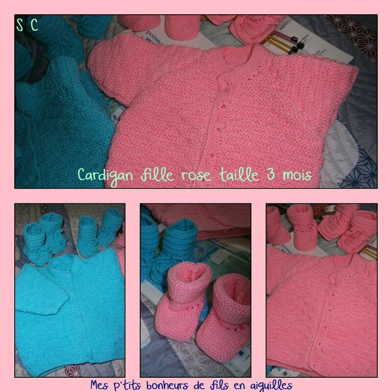 Cardigan fille rose ou turquoise