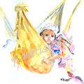 carte n° 15 - bébé dans hamac