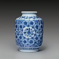 A small ming-style blue and white cylindrical jar, yongzheng mark and period (1723-1735)
