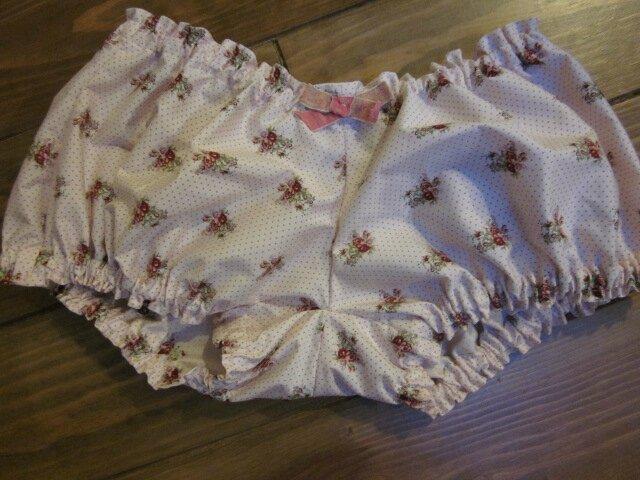 Culotte en coton rose à semis de fleurs et noeud assorti - taille S