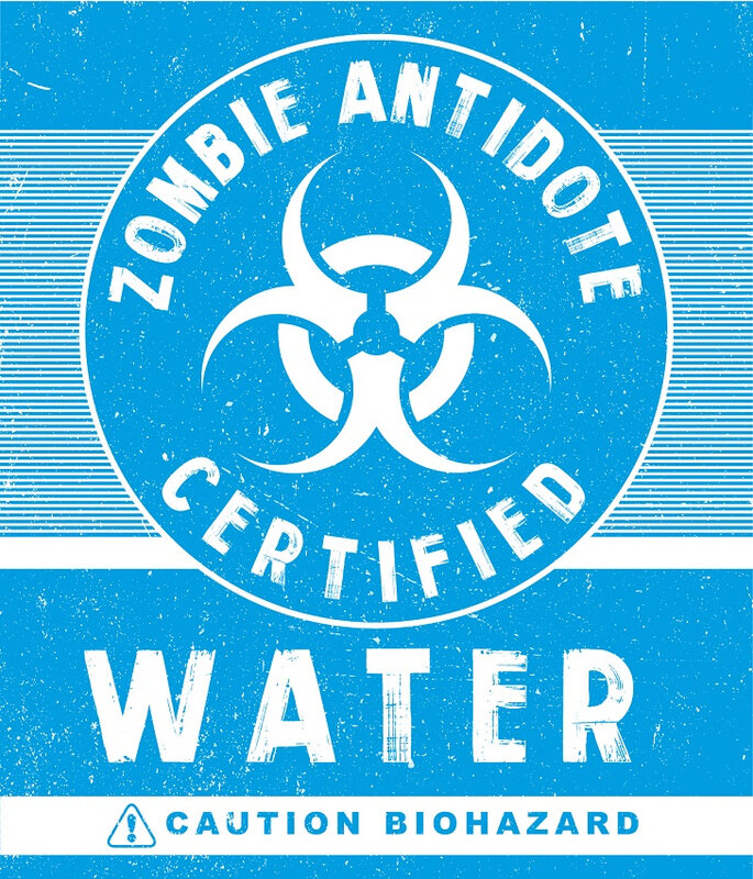 antivirus zombie water Label Halloween Zombie Biohazard