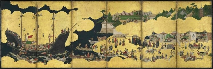 An important Nanban six-fold screen depicting the arrival of a Portuguese ship for trade, Edo period, 17th century