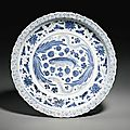 A blue and white 'fish' dish, yuan dynasty (1271-1368)