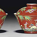 A pair of famille rose coral-ground bowls and covers, xiezhu zhuren zaomark in underglaze blue, daoguang period (1821-1850)