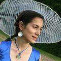 Iris - Bleu électrique et carreaux blancs