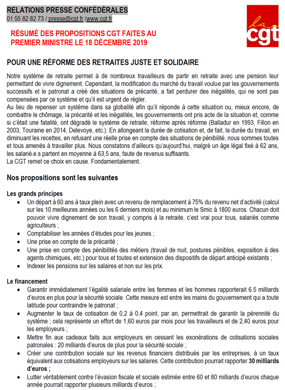 Proposition CGT - Retraites - 18 dec 2019