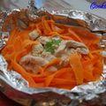 Papillote de poulet et tagliatelles de carottes