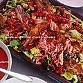 Salade au lard fumé et aux framboises