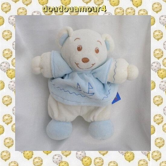 Doudou Peluche Ours Blanc Robe Bleu Bateau Grelot Poupe Poupi 21 cm
