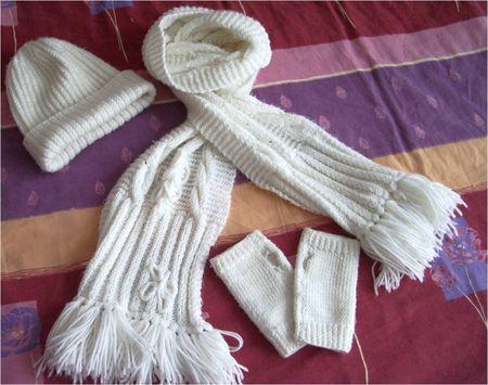 mitaines bonnet echarpe tricot