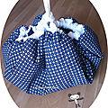 Tapis sac à jouets bleu marine et blanc