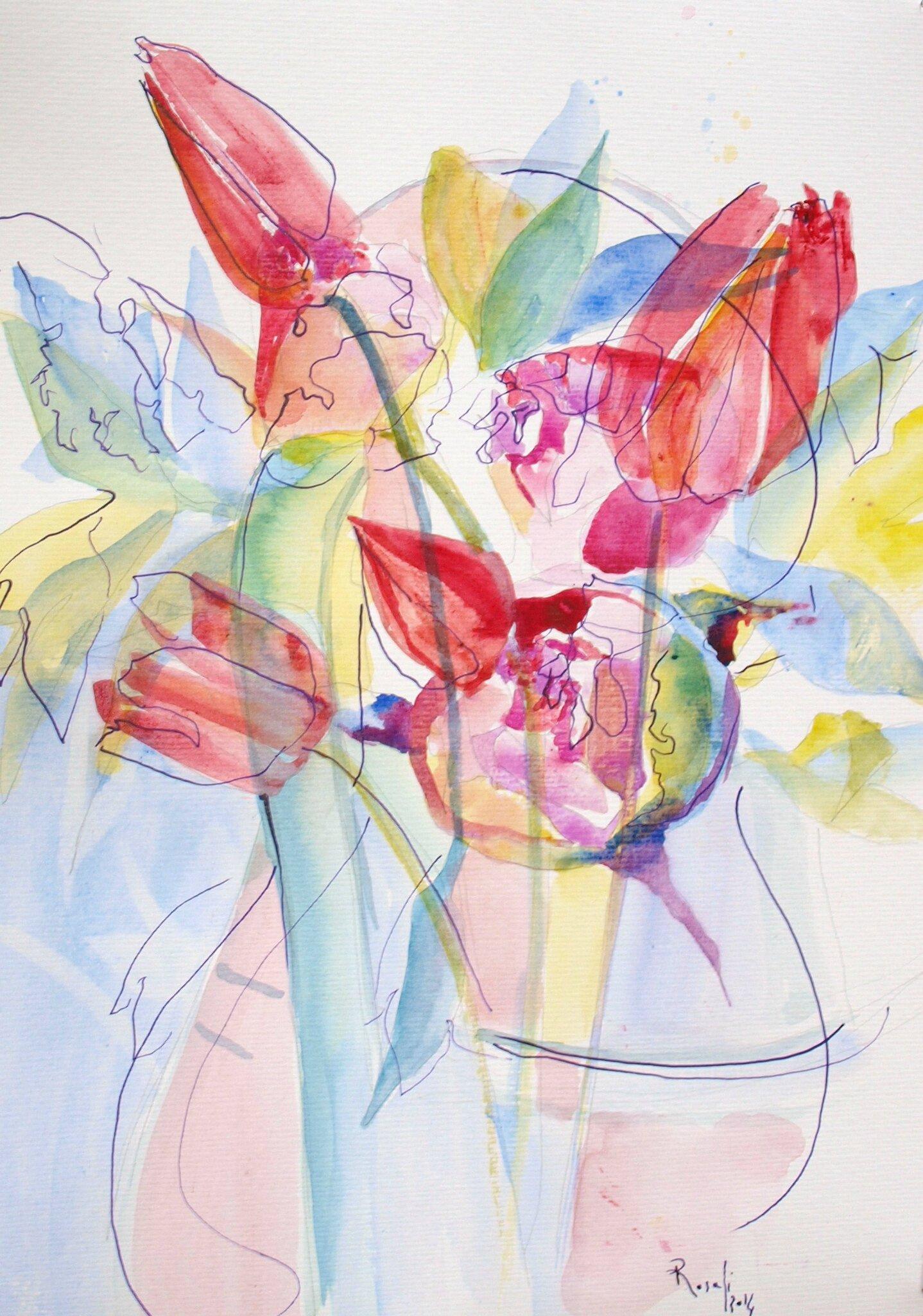 Eau,fleurs,pigment,encre