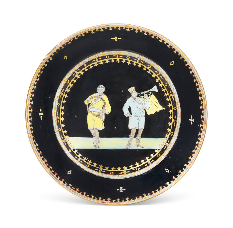 A rare black-ground 'trumpeter' plate, Qianlong period, circa 1745