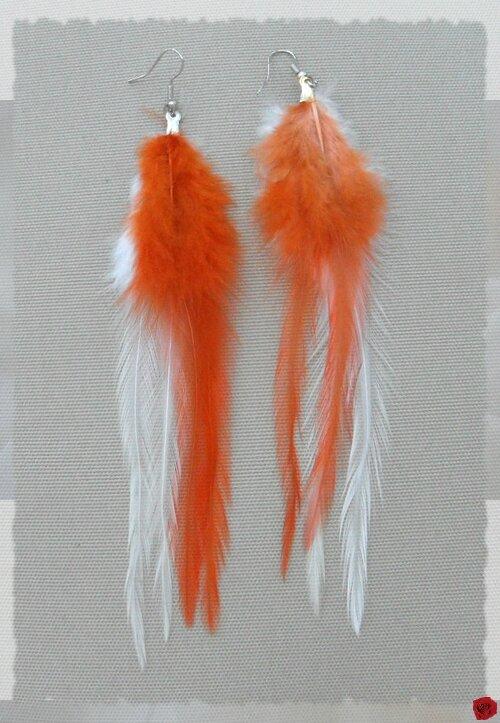 Boucles d'Oreilles Plumes Orange Et Blanc 12 cm