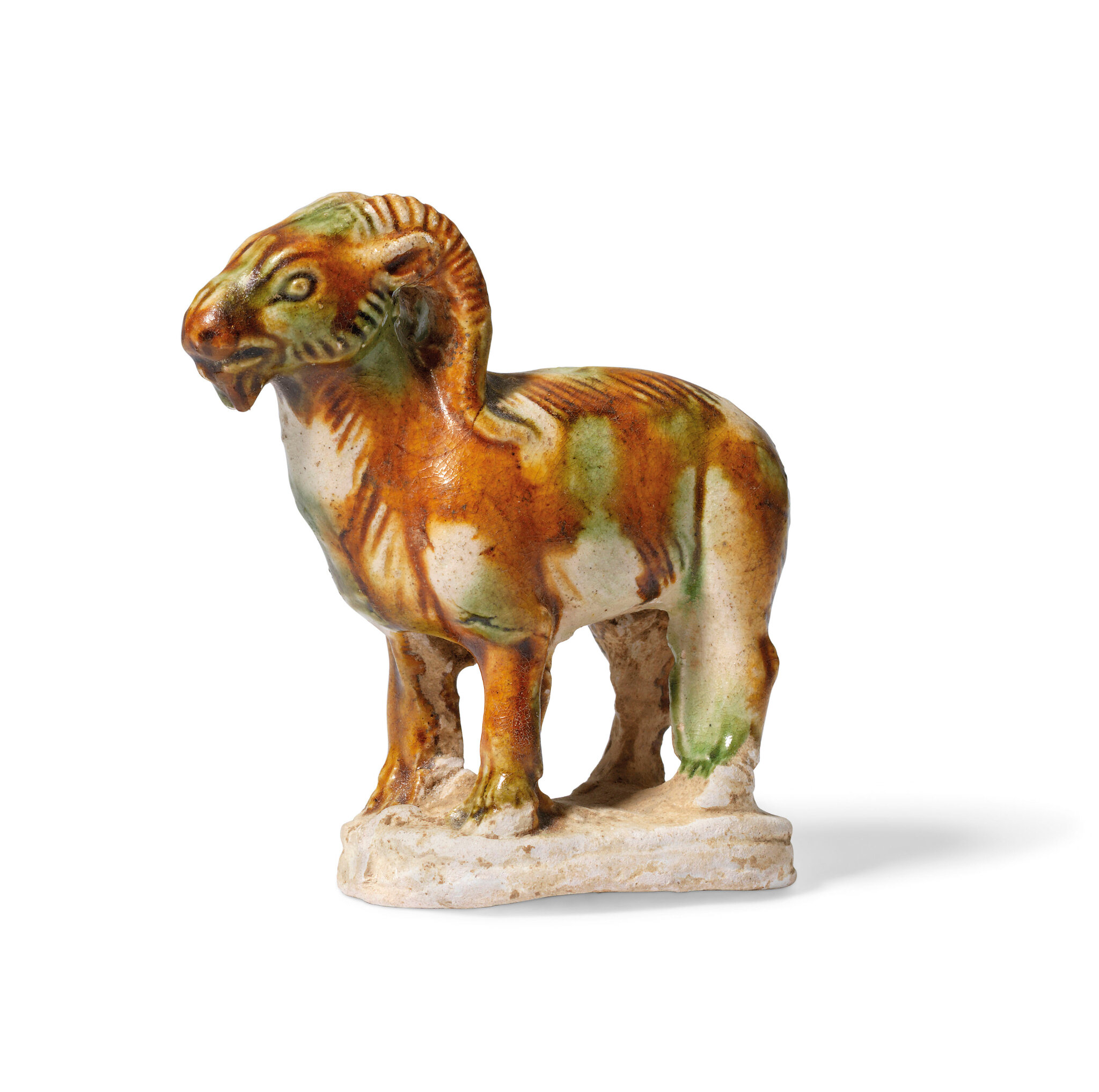 A rare small sancai-glazed pottery figure of a ram, Tang dynasty (AD 618-907)