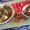 Soupe italiano-thaï tortellinis et petits pois.