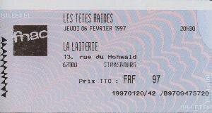 1997 02 Têtes Raides La Laiterie Billet