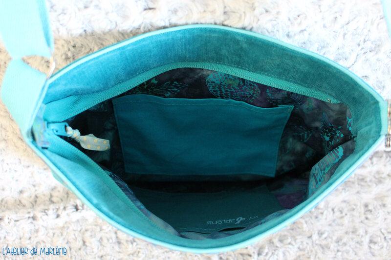 intérieure doublure sac en bandoulière bleu