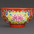 A finely enamelled coral-ground famille-rose bowl, seal mark and period of qianlong (1736-1795)