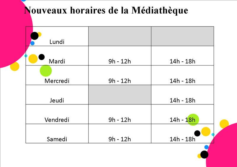 horaires médiathèque
