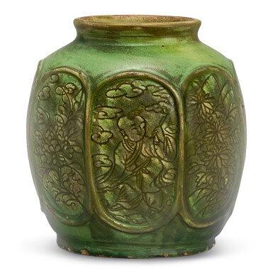 A green-glazed carved 'boys' jar, Ming dynasty (1368-1644)