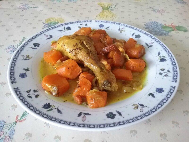 Cuisses de poulet et courge musquée sautées à la Bretonne