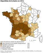 Répartition des loutres en France en 2012